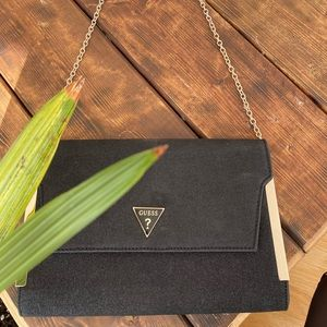 Guess black glitter clutch gold chain& details
